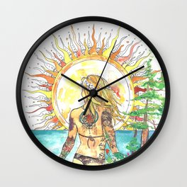 The Sun Tarot Card Bohemian Ocean Goddess Risa Painting Wall Clock