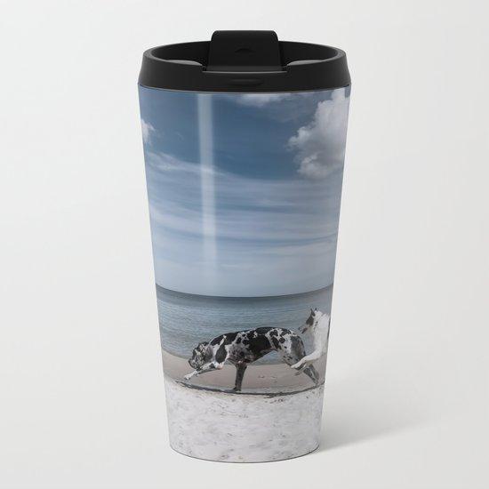 Running dogs at the beach Metal Travel Mug