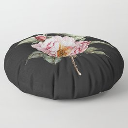 Wilting Pink Rose Watercolor on Charcoal Black Floor Pillow