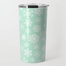 minty snow flakes Travel Mug