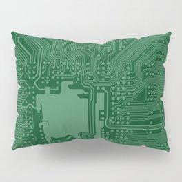 Green Geek Motherboard Circuit Pattern Pillow Sham