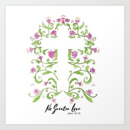 No Greater Love Floral Cross Art Print