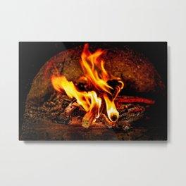 Firewood Burns In A Vintage Stove Metal Print