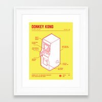 donkey kong Framed Art Prints featuring ARCADE CAB - DONKEY KONG by KOMBOH