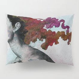 Moral Red Eclipse (colorful hair woman with moths tattoos) Pillow Sham