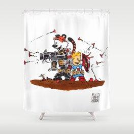 Calvin and Hobbes Inspired Hero Parody Shower Curtain