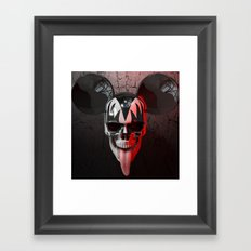 Mickey Kiss Skull Framed Art Print