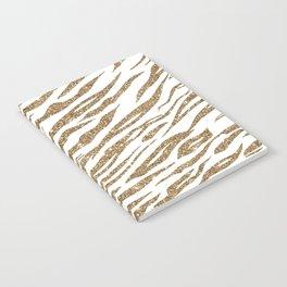White & Glitter Animal Print Pattern Notebook