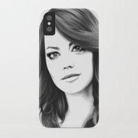 emma stone iPhone & iPod Cases featuring Emma Stone minimalist digital portrait by Thubakabra