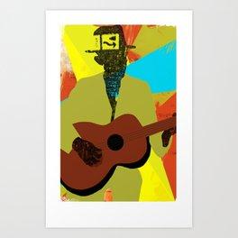 Abstract Halftone Bluesman Art Print