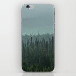 Misty Pine Trees Photography, Forest Mountain Landscape Photography iPhone Skin
