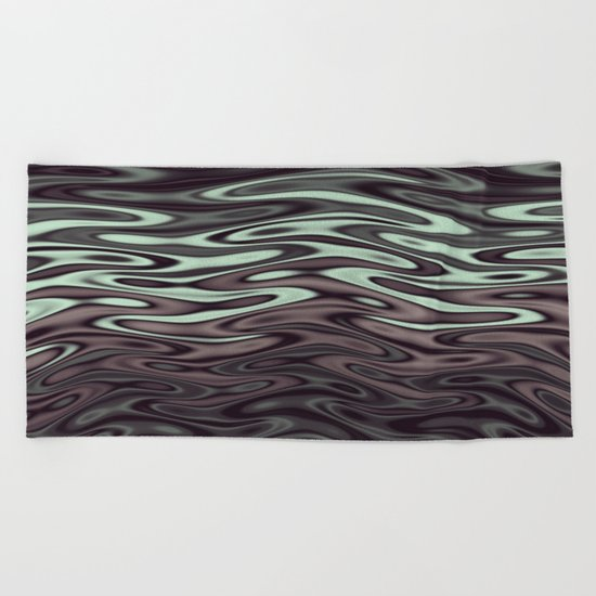 Ripples Fractal in Mint Hot Chocolate Beach Towel