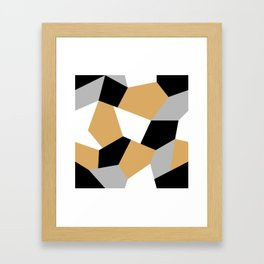 Gold, black, white and grey mosaic seamless pattern Framed Art Print