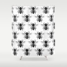 The Bee's Knees Black Shower Curtain