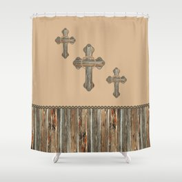 Western Crosses Barn Wood Rope and Concho Print Shower Curtain