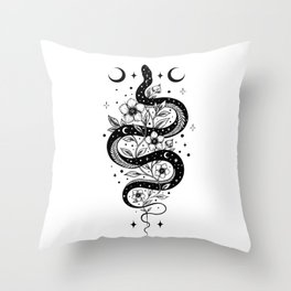 Serpent Spell -Black and White Throw Pillow