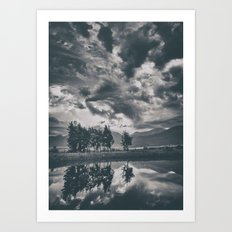 Black and white lake Art Print