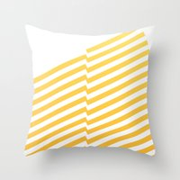 bands Throw Pillows featuring Yellow bands by blacknote