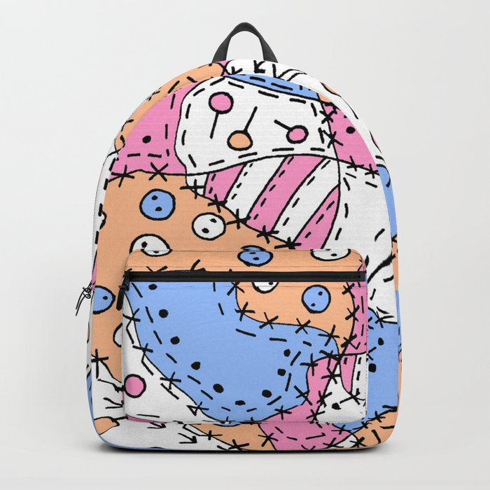 Doodle Art Buttons and Pins - Pink Blue Orange Backpack by desertsart
