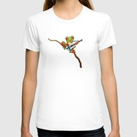 finland T-shirts featuring Tree Frog Playing Acoustic Guitar with Flag of Finland by Jeff Bartels