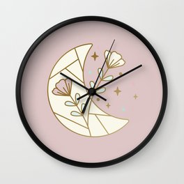 Mystic Moon and Flowers - magical illustration Wall Clock
