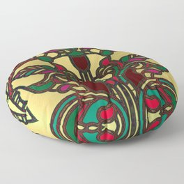Victorian Stained Glass in Gold and Maroon Floor Pillow