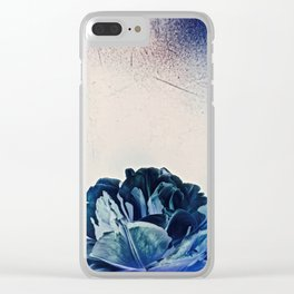 Blue Tulip- Scratched And Grungy Clear iPhone Case