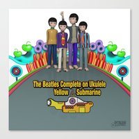 yellow submarine Canvas Prints featuring Yellow Submarine by The Beatles Complete On Ukulele