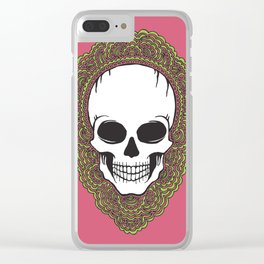 Skull Drawing Meditation Clear iPhone Case