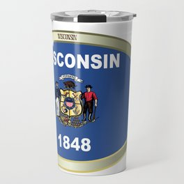 Wisconsin State Flag Oval Button Travel Mug