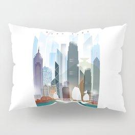 The city skyline of Hong Kong Pillow Sham