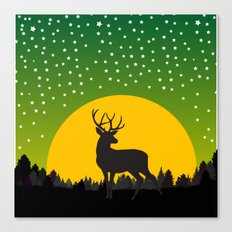 Deer Stars Moon Canvas Print