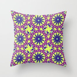 Chained Link Purple Spiral Flowers Throw Pillow