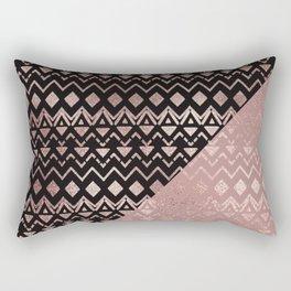 Rose Gold Hand Drawn Tribal Aztec Geometric Rectangular Pillow
