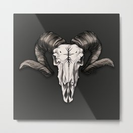 Ram Skull with Runes Metal Print