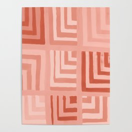 Painted Color Block Squares in Peach Poster