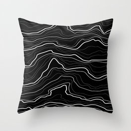 Black and white abstract tree rings or rock layers or sea waves  Throw Pillow