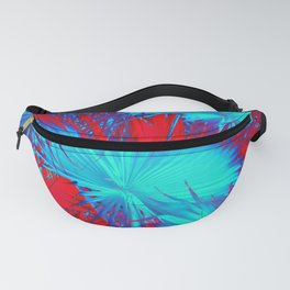 closeup palm leaf texture abstract background in blue and red Fanny Pack