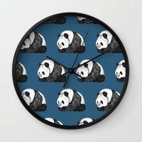pandas Wall Clocks featuring Pandas by Diana Hope