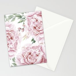 Girly Pastel Pink Roses Garden Stationery Cards