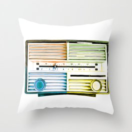 Vintage Radio Pop Art Throw Pillow