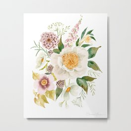 Soft Peony Bouquet Metal Print