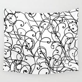 black thin pattern on white underground Wall Tapestry