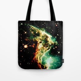 Monkey Head Nebula GalaXy Golden Green Tote Bag