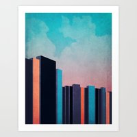 skyline Art Prints featuring Skyline by Nope