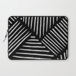 Lines and Patterns in Black and White Brush Laptop Sleeve