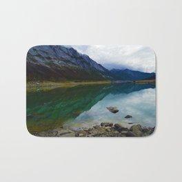 Reflections in Medicine Lake in Jasper National Park, Canada Bath Mat