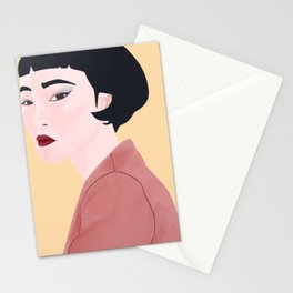 Portrait of Asian Women with Slanted Eyes Stationery Cards