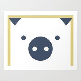 Peek-a-Boo Pig, Full, Blue and Gold Art Print