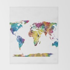 Geometric World Map Throw Blanket
